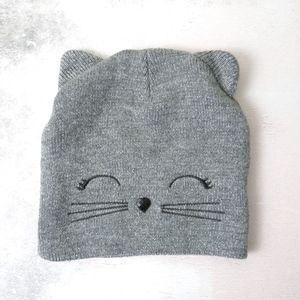 Justice | Gray Shimmer Kitty Cat Stretch Beanie